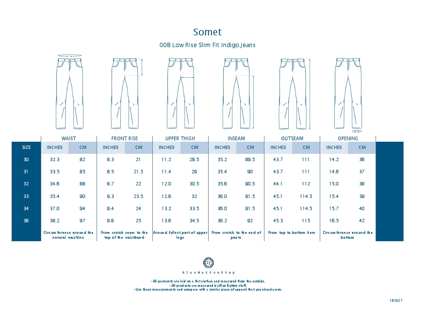 Somet 008 Low Rise Slim Fit Indigo Jeans