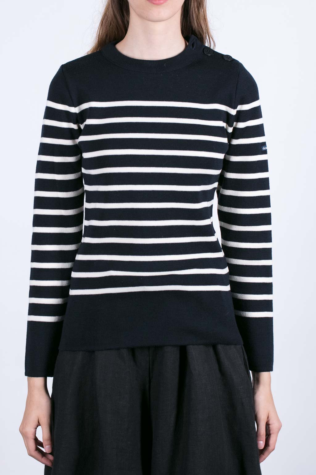 Sweater with Shoulder Buttons - Dk Navy/ Milk