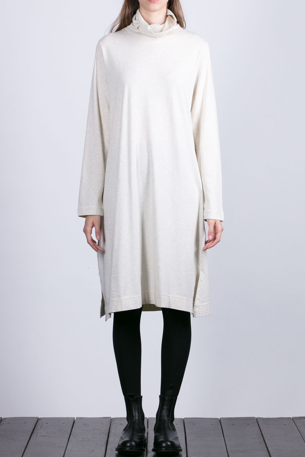 Turtle Neck One Piece - Beige