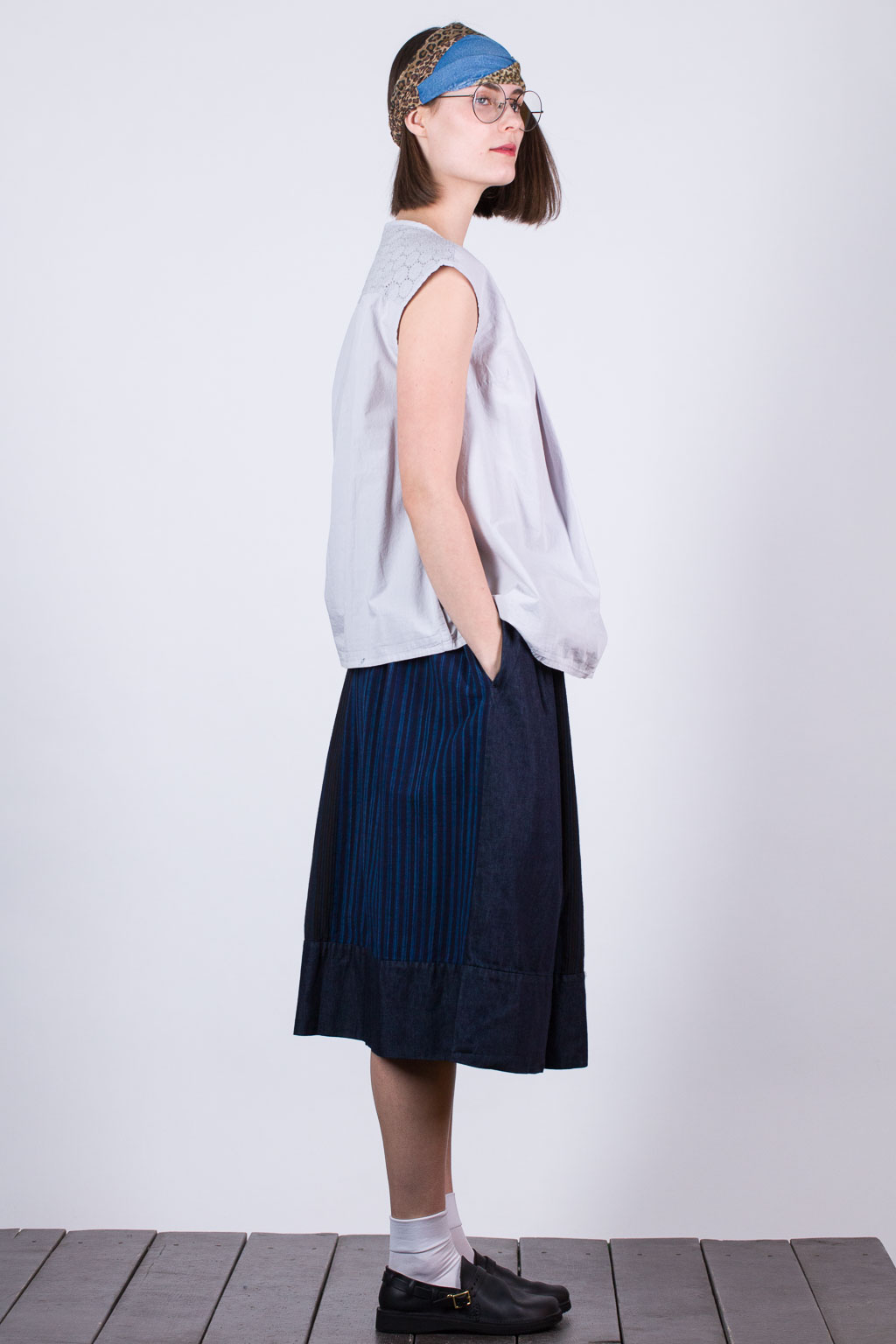 Tuck French Blouse - Grey