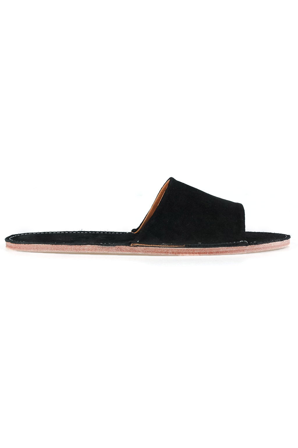 Viberg Open Toe Slides - Black Suede