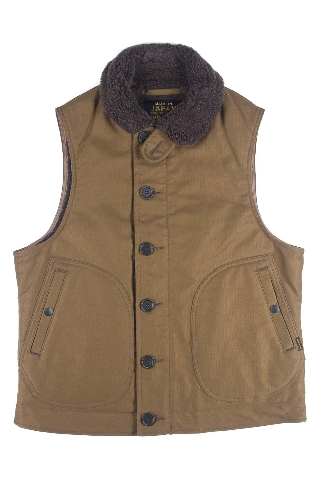Alpaca Lined Whipcord N1 Deck Vest - Khaki