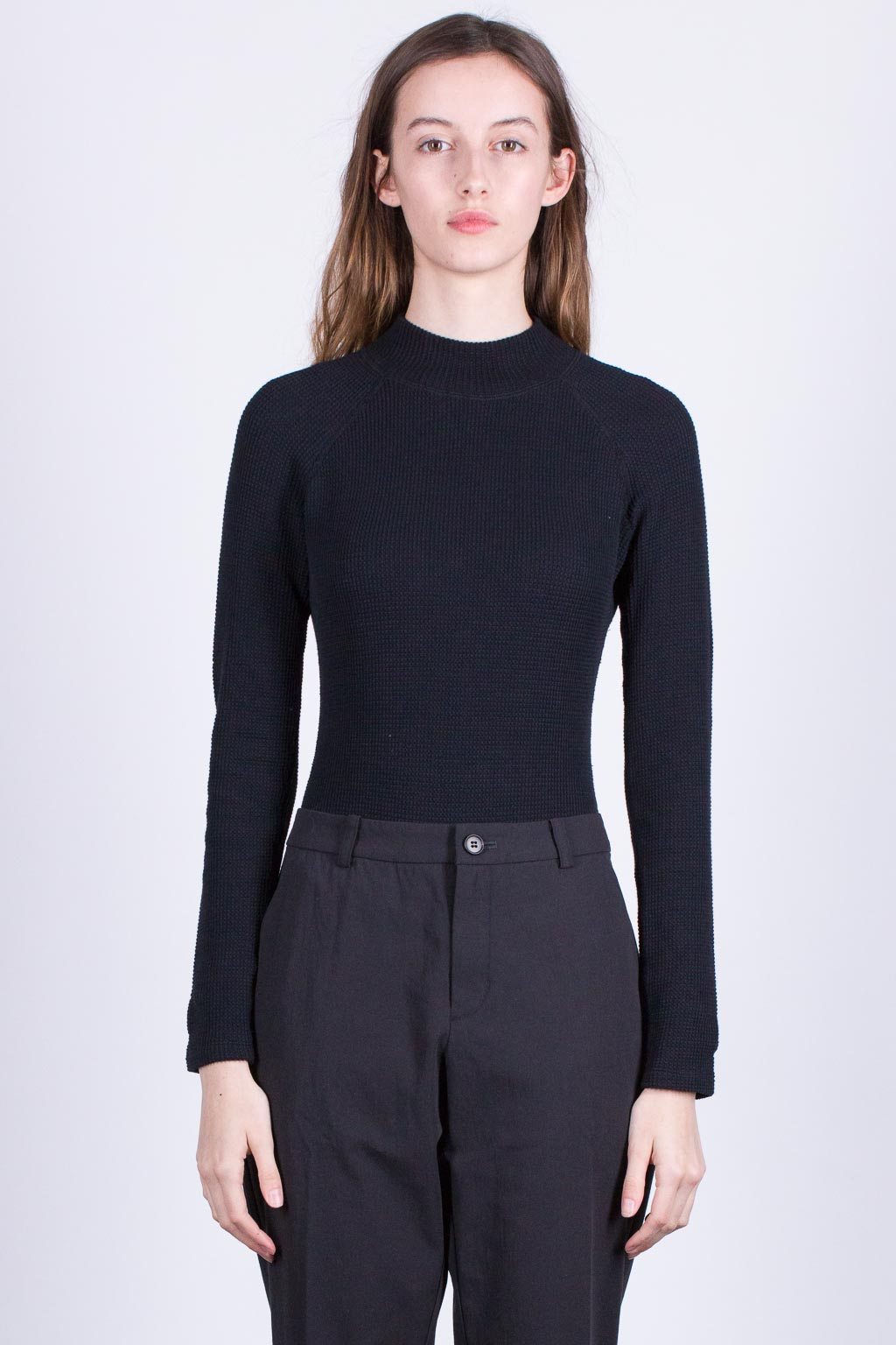 Stretch thermal high neck bodysuit - black
