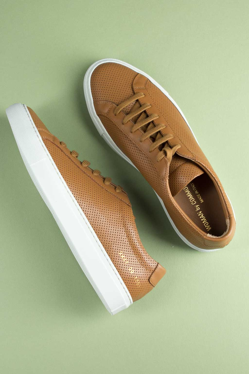 Common Projects Original Achilles Perf. Low W/White Sole - Tan