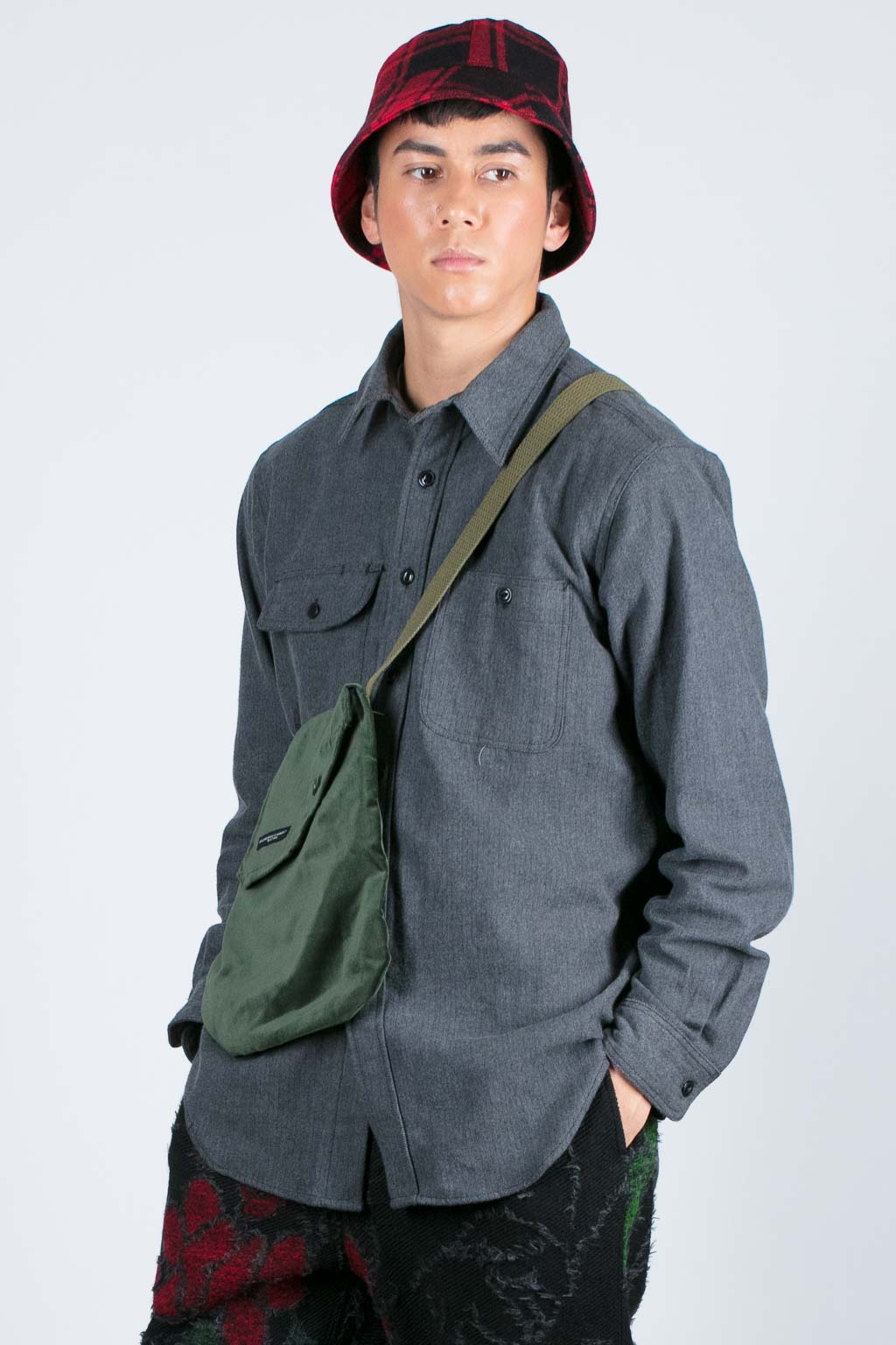 EG Workaday Utility Shirt - Grey Cotton Herringbone Flannel