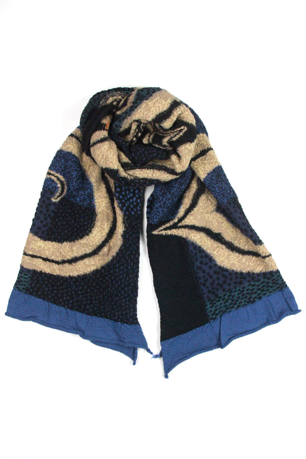 Kapital Compressed Wool Scarf 5 RINGS - Blue
