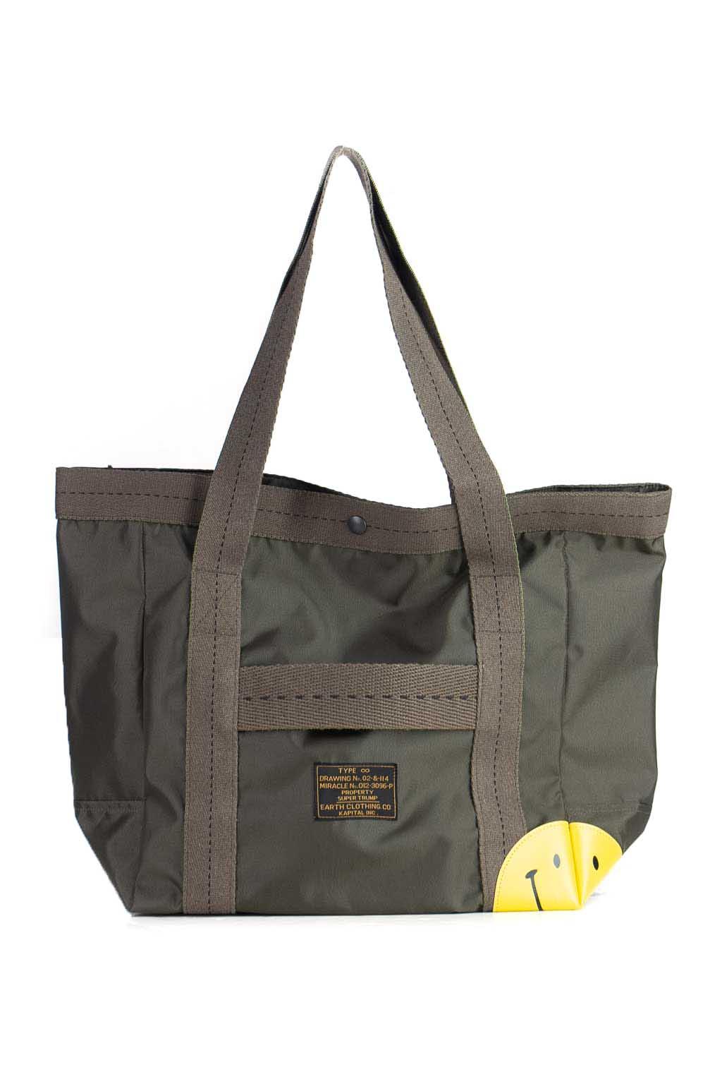 Nylon Ox Army Smile Tote Bag (S)   Khaki by Kapital