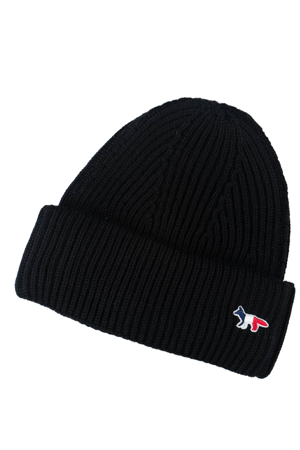 Maison Kitsune Ribbed Hat - Tricolor Fox Patch in 4 colour Choice