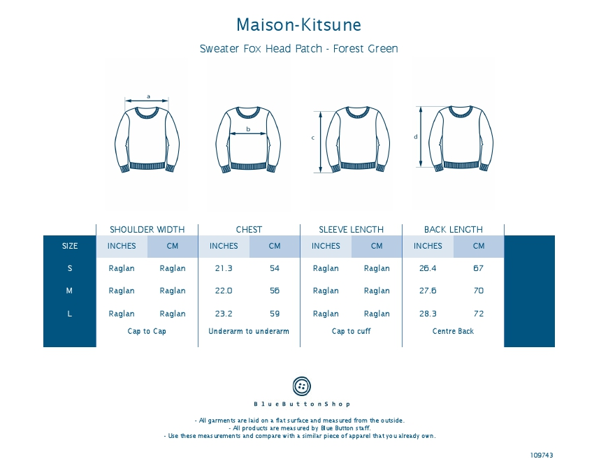 Maison Kitsune Sweater Fox Head Patch - Forest Green