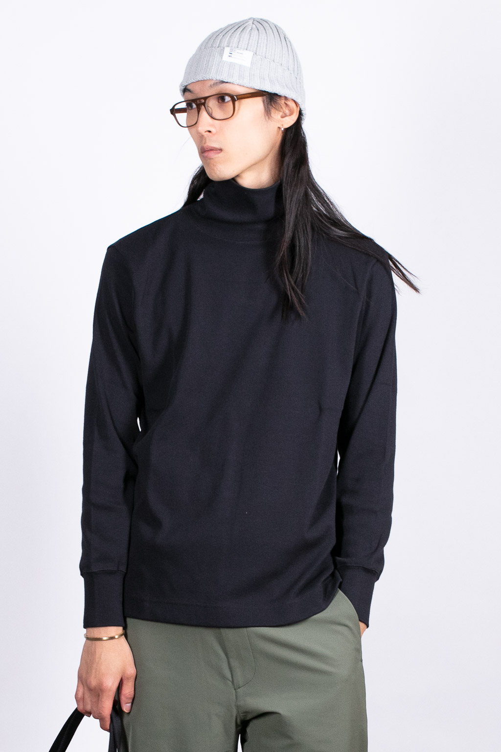 Nanamica Turtle Neck L/S Tee - Dark Navy